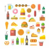 Flat design of junk food set — Stock Vector