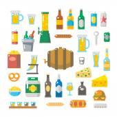 Flat design of beer items set — Stock Vector