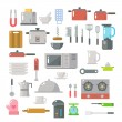 Постер, плакат: Flat design of kitchen items set