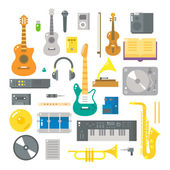 Flat design of music instruments set — Stock Vector