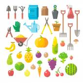 Flat design of garden tools set — Stock Vector