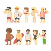 Flat design of beach people — Stock Vector