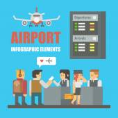 Flat design of airport infographic elements — Stock Vector