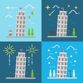 Flat design of 4 styles leaning tower of Pisa Italy — Stock Vector