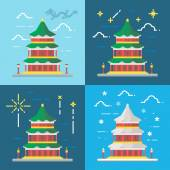 Flat design 4 styles of summer palace Beijing China — Stock Vector