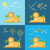 Flat design 4 styles of Sphinx of Giza Egypt — Stock Vector