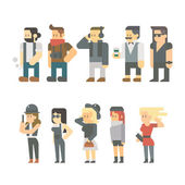 Flat design of hipster people set — Stock Vector