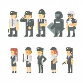 Flat design of police set — Vector de stock