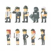 Flat design of police set — Stock Vector