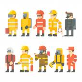 Flat design of rescue worker set — Stock Vector