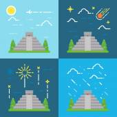 Flat design 4 styles of Chichen Itza Yuacatan Mexico — Stock Vector