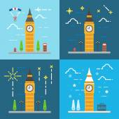 Flat design 4 styles of Big ben clock tower London United Kingdo — Stock Vector