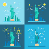 Flat design 4 styles of statue of liberty — Stock Vector
