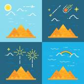 Flat design 4 styles of pyramids of Giza Egypt — Stock Vector