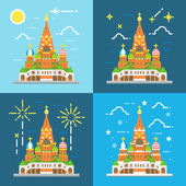 Flat design 4 styles of saint Basil's Cathedral — Stock Vector
