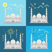 Flat design of Sheikh Zayed grand mosque Abu Dhabi — Stock Vector