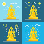 Flat design of Buddha Thailand — Stock Vector