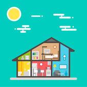 Flat design of house interior — Stock Vector