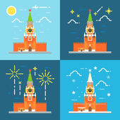 Kremlin clock tower flat design — Stock Vector