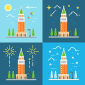 Saint Mark's campanile flat design — Stock Vector