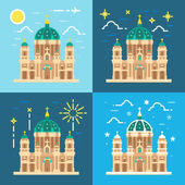 Berliner Dom cathedral flat design — Stock Vector