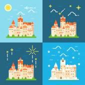 Bran castle germany flat design — Stock Vector