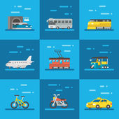 Travel vehicles set flat design — Stock Vector