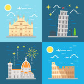 Flat design Italy landmarks set — Stock Vector