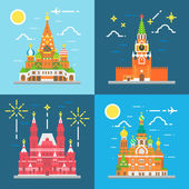 Flat design Russia landmarks set — Stock Vector
