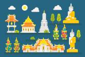 Thailand temple infographic elements set — Stock Vector