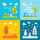 4 seasons park flat design set — Stock Vector