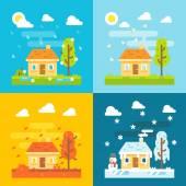4 säsonger hus platt design set — Stockvektor