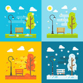 4 seasons park flat design set — Stock Vector