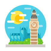 Punto di riferimento di Big Ben clock tower design piatto — Vettoriale Stock