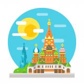 Saint Basil's cathedral flat design landmark — Stock Vector
