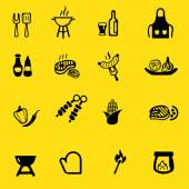 Barbecue Grill Yellow Silhouette icons — Stock Vector