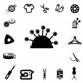 Sewing Silhouette Icons — Stock Vector