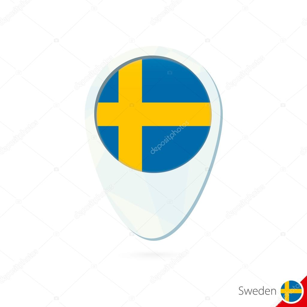 瑞典国旗位置地图图钉图标在白色背景上.矢量图– 图库插图