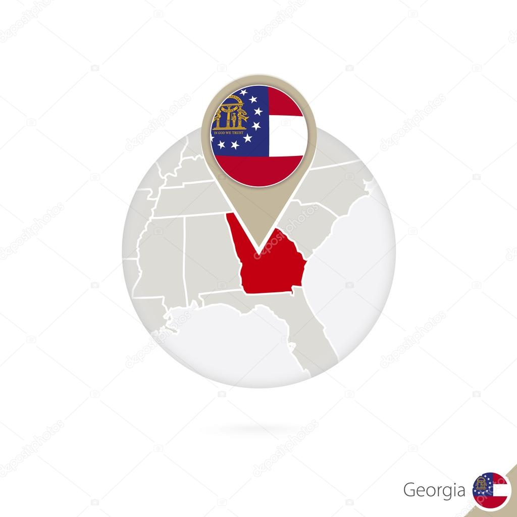 Georgia US State Map And Flag In Circle Map Of Georgia Stock - Georgia us state map