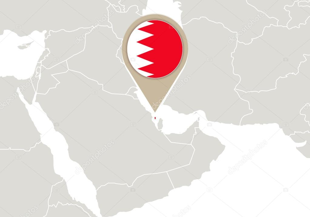 Bahrain Map Vector Map With Highlighted Bahrain