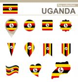 Uganda Flag Collection — Stock Vector
