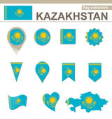 Kazakhstan Flag Collection — Stock Vector