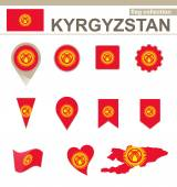 Kyrgyzstan Flag Collection — Stock Vector