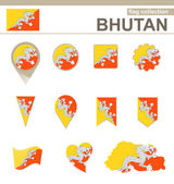 Bhutan Flag Collection — Stock Vector