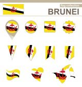 Brunei Flag Collection — Stock Vector