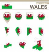 Wales Flag Collection — Stock Vector