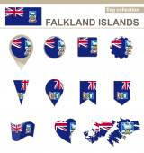 Falkland Islands Flag Collection — Vettoriale Stock