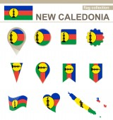 New Caledonia Flag Collection — Stock Vector