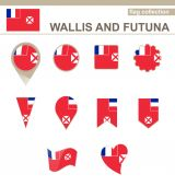 Wallis and Futuna Flag Collection — Stock Vector
