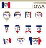 Iowa Flag Collection — Stok Vektör
